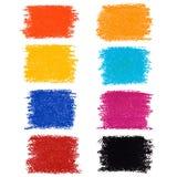 Reeks vlekken van het pastelkleurkleurpotlood, die op witte achtergrond wordt geïsoleerd Stock Foto's