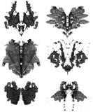 Reeks vlekken van Rorschach Royalty-vrije Stock Foto's