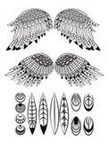Reeks vleugels en veren royalty-vrije illustratie
