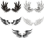 Reeks vleugels Grunge Stock Afbeeldingen