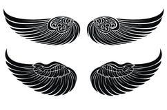 Reeks vleugels. Het ontwerpelementen van de tatoegering Royalty-vrije Stock Afbeeldingen