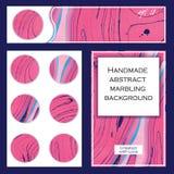 Reeks vliegermalplaatjes Roze abstracte marmeringsachtergrond Royalty-vrije Stock Afbeeldingen