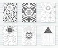Reeks vliegers met geometrische patronen en hipster pictogrammen Stock Afbeeldingen