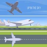 Reeks vliegtuigen Op in de hemelreeks Royalty-vrije Stock Afbeeldingen