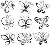Reeks vlinders royalty-vrije illustratie