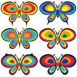 Reeks vlinders op wit wordt geïsoleerd dat stock illustratie