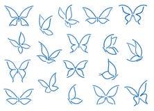 Reeks vlindersilhouetten Royalty-vrije Stock Afbeelding