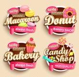 Reeks Voedseletiketten of Stickers stock illustratie
