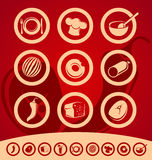 Reeks voedselpictogrammen Royalty-vrije Stock Foto's
