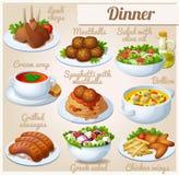 Reeks voedselpictogrammen diner Royalty-vrije Stock Afbeelding