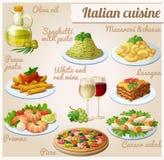 Reeks voedselpictogrammen Italiaanse keuken Spaghetti met pesto, lasagna's, penne deegwarentomatensaus, pizza, olijfolie, macaron Royalty-vrije Stock Foto's