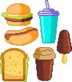 Reeks voedselpictogrammen in pixelstijl Stock Foto