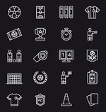 Reeks voetbal verwante pictogrammen Stock Afbeelding