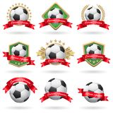 Reeks voetbaletiketten stock illustratie