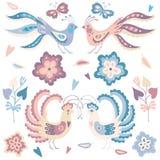 Reeks vogels blauwe en roze pastelkleuren vector illustratie