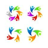 Reeks Volledige Kleurenmensen Logo Template royalty-vrije illustratie