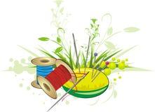 Reeks voor borduurwerk met de lenteboeket Royalty-vrije Stock Afbeelding