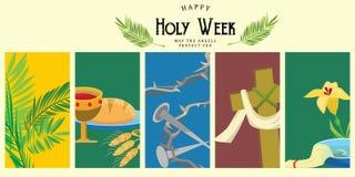 Reeks voor Christendom heilige week vóór Geleende Pasen, en Palm of Hartstochtszondag, Goede Vrijdagkruisiging van Jesus en van h Stock Afbeelding