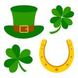 Reeks voor de Dag van Heilige Patrick Symbolen van vakantie Vector illustratie royalty-vrije illustratie