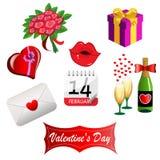 Reeks voor de Dag van Valentijnskaarten Royalty-vrije Stock Afbeeldingen