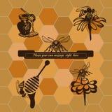 Reeks voor de reclame van en het verkopen van honingsproducten Royalty-vrije Stock Foto