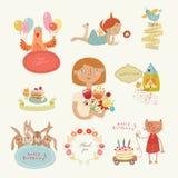Reeks voor gelukwensen met leuke karakters stock illustratie