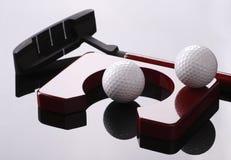 Reeks voor golf, golfclub, ballen en gat Stock Afbeeldingen