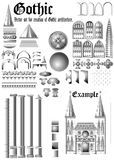 Reeks voor Gotische architectuur. (Vector) Royalty-vrije Stock Afbeeldingen