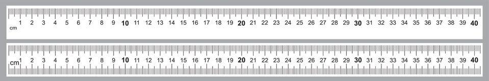 Reeks voor Heersers 40 cm Nauwkeurig metend hulpmiddel Heersersnet 400 mm De metrische indicatoren van de Centimetergrootte vector illustratie