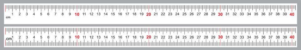 Reeks voor Heersers 40 cm Nauwkeurig metend hulpmiddel Heersersnet 400 mm De metrische indicatoren van de Centimetergrootte stock illustratie