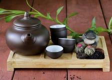 Reeks voor het traditionele thee drinken (ketel, koppen en diverse thee) royalty-vrije stock foto