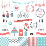 Reeks voor huwelijksontwerp Liefdeelementen voor uw ontwerp Royalty-vrije Stock Afbeelding