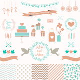 Reeks voor huwelijksontwerp Liefdeelementen voor uw ontwerp Royalty-vrije Stock Foto's