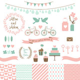 Reeks voor huwelijksontwerp Liefdeelementen voor uw ontwerp Stock Afbeelding