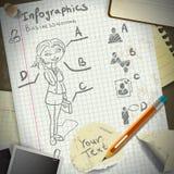Reeks voor infographics met kantoorbehoeften en zaken  Royalty-vrije Stock Fotografie