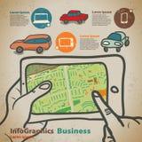 Reeks voor infographics op navigatie op mobiele apparaten, tablet Stock Afbeelding