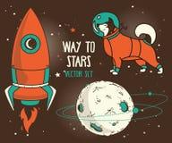 Reeks voor kosmisch ontwerp: planeet, hond-astronaut en raket stock illustratie