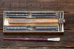 Reeks voor metaal en het houten stempelen Stock Afbeeldingen