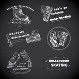 Reeks voor Rolschaatsen met tekst Hand getrokken emblemen, etiketten van CH Royalty-vrije Stock Afbeelding
