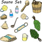 Reeks voor sauna Hand getrokken punten voor bad royalty-vrije illustratie