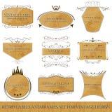 Reeks voor uitstekend ontwerp, retro etiketten en kaders Royalty-vrije Stock Afbeelding