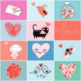 Reeks voor Valentijnskaartendag Royalty-vrije Stock Afbeeldingen