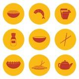 Reeks voorwerpen op Chinees keukenthema Royalty-vrije Stock Foto