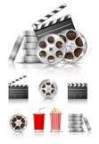 Reeks voorwerpen voor cinematografie Stock Foto