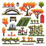 Reeks voorwerpen voor de herfstpark op witte achtergrond worden geïsoleerd die landscaping Het art Vector illustratie vector illustratie
