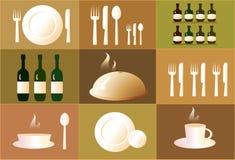 Reeks voorwerpen voor restaurant. Stock Foto