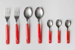 Reeks vorken en lepels Stock Fotografie