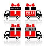Reeks vrachtwagen rode pictogrammen - vrije levering Royalty-vrije Stock Afbeeldingen