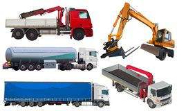 Reeks vrachtwagens stock foto