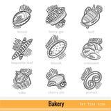 Reeks Vriendelijke Pictogrammen van het het Overzichtsweb van het Bakkerijproduct Stock Foto